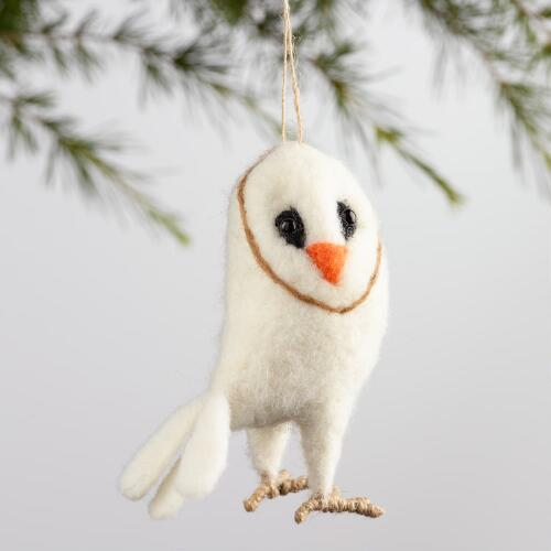 White Lambswool Barn Owl Ornament