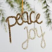 Beaded Peace and Joy Ornaments Set of 4