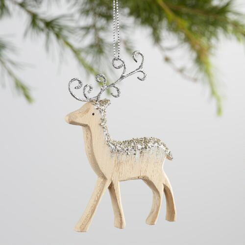 Gold & Silver Frosty Wood Reindeer Ornaments Set of 2