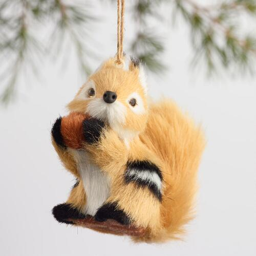 Fabric Chipmunk with Nut Ornaments Set of 3