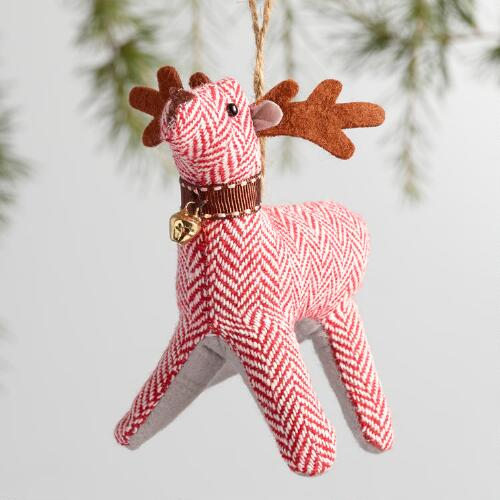 Fabric Herringbone Deer Ornaments Set of 3