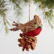 Fabric Cardinal Pinecone Ornaments Set of 2