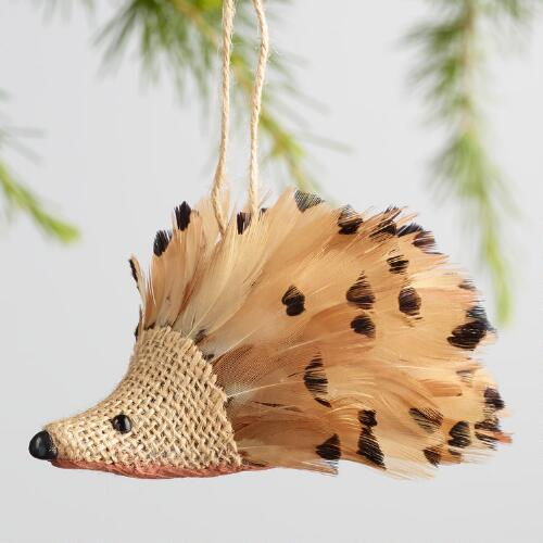 Burlap and Feather Hedgehog Ornaments Set of 2