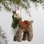 Plaid Natural Fiber Bear and Deer Ornaments Set of 2