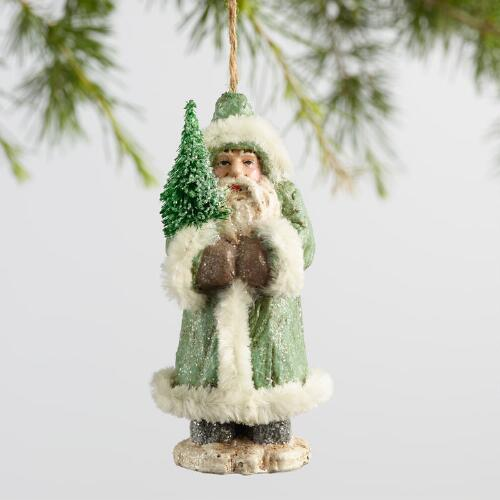 Paper Pulp Santa with Fur Ornaments Set of 3