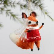 Wool Vest Fox Ornaments Set of 4