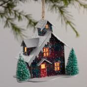 Paper Plaid House LED Ornaments Set of 2