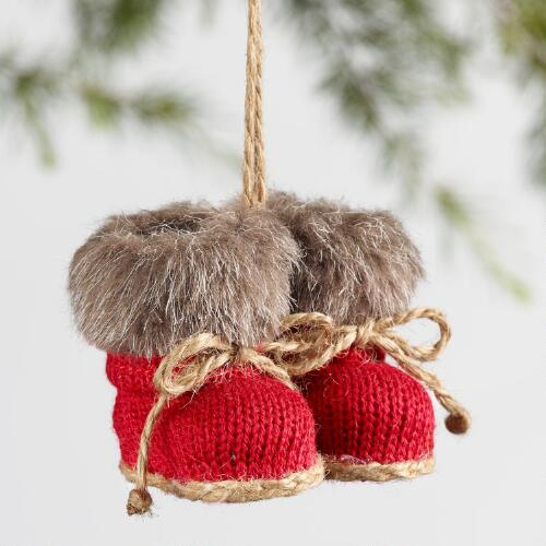 Fabric Knit Boot Ornaments Set of 3