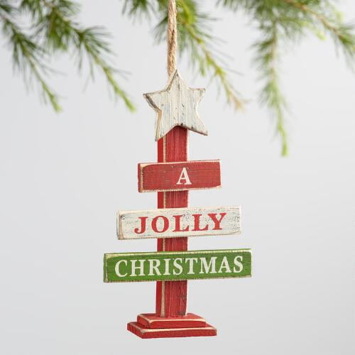 Wood Tree with Words Ornaments Set of 2