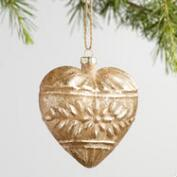Gold and Red Glass Heart Ornaments Set of 2