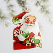 Metal Retro Santa Ornaments Set of 4