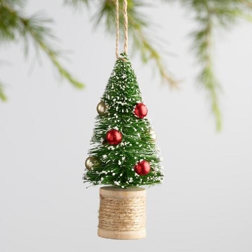 Bottlebrush Tree on Spool Ornaments Set of 2