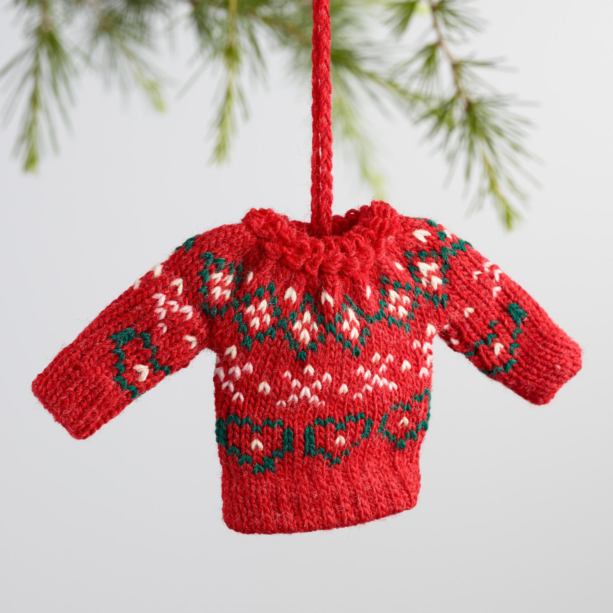 Knitted Christmas Decorations To Buy : Mini knit holiday sweater ornaments set of world market