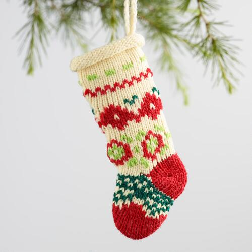 Knit Stocking Ornaments Set of 3