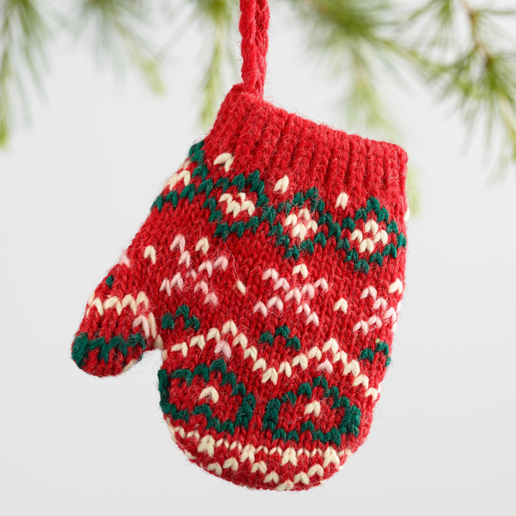 Knitted Christmas Decorations To Buy : Knit mitten ornaments set of world market