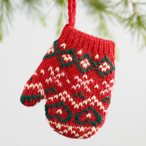 Knit Mitten Ornaments Set of 3
