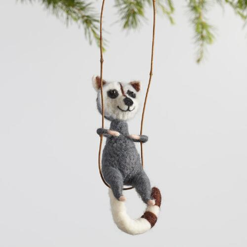 Brown and Gray Wool Raccoon Ornaments Set of 2