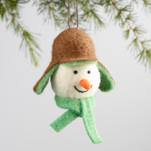 Wool Snowman Head with Cap Ornaments Set of 2