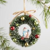 Bottlebrush Retro Wreath Ornaments Set of 3