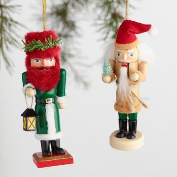 Woodland and Global Nutcracker Boxed Ornaments Set of 2