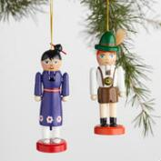 Global Boy and Girl Nutcracker Boxed Ornaments Set of 2
