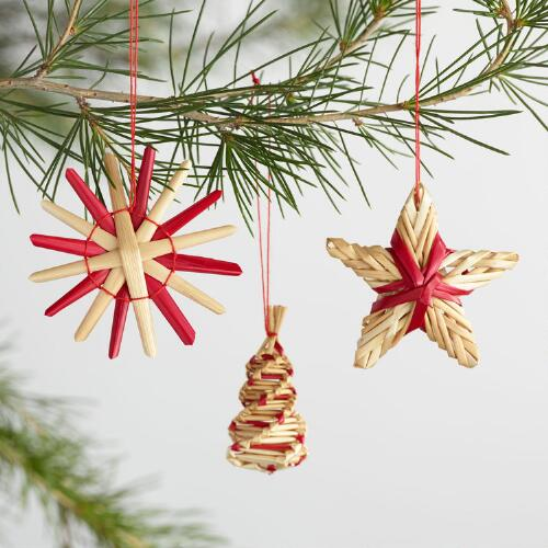 Natural Straw 35 Pack Boxed Ornaments Set of 2