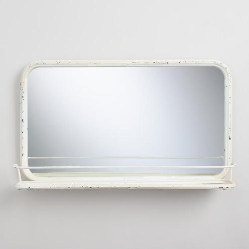 Ivory Metal Josie Mirror with Tray