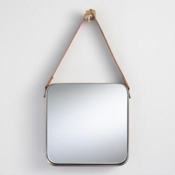 Pewter Metal Mirror with Leather Strap
