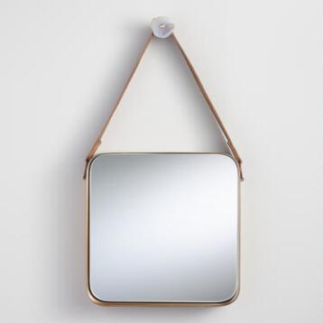 Brass Metal Mirror with Leather Strap