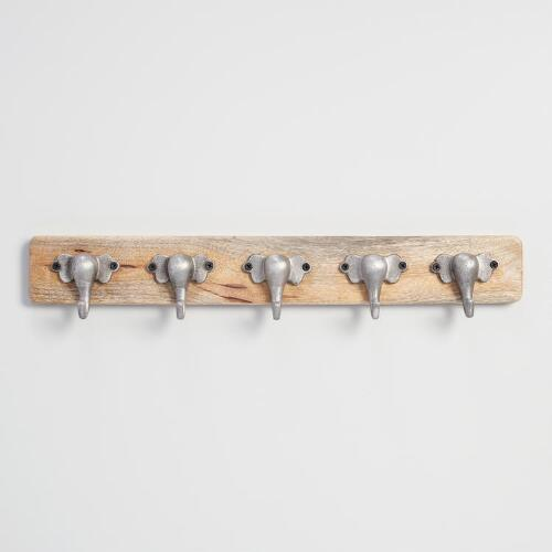 Zinc Metal and Wood Elephant 5 Hook Wall Storage