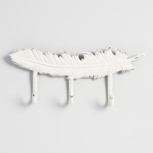 Ivory Metal Feather 3 Hook Wall Storage