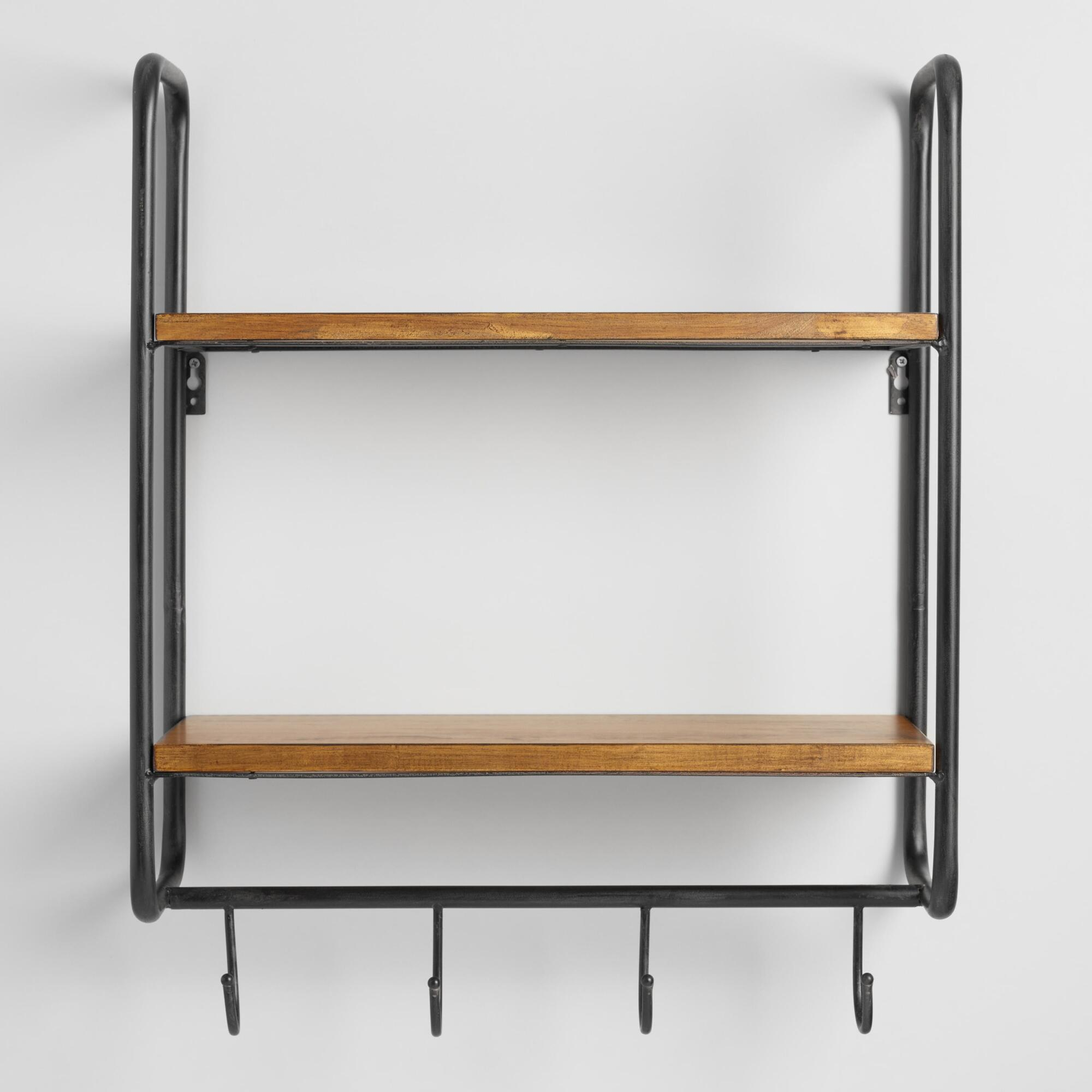 Metal and wood skyler 2 shelf wall storage world market - Wall metal shelf ...
