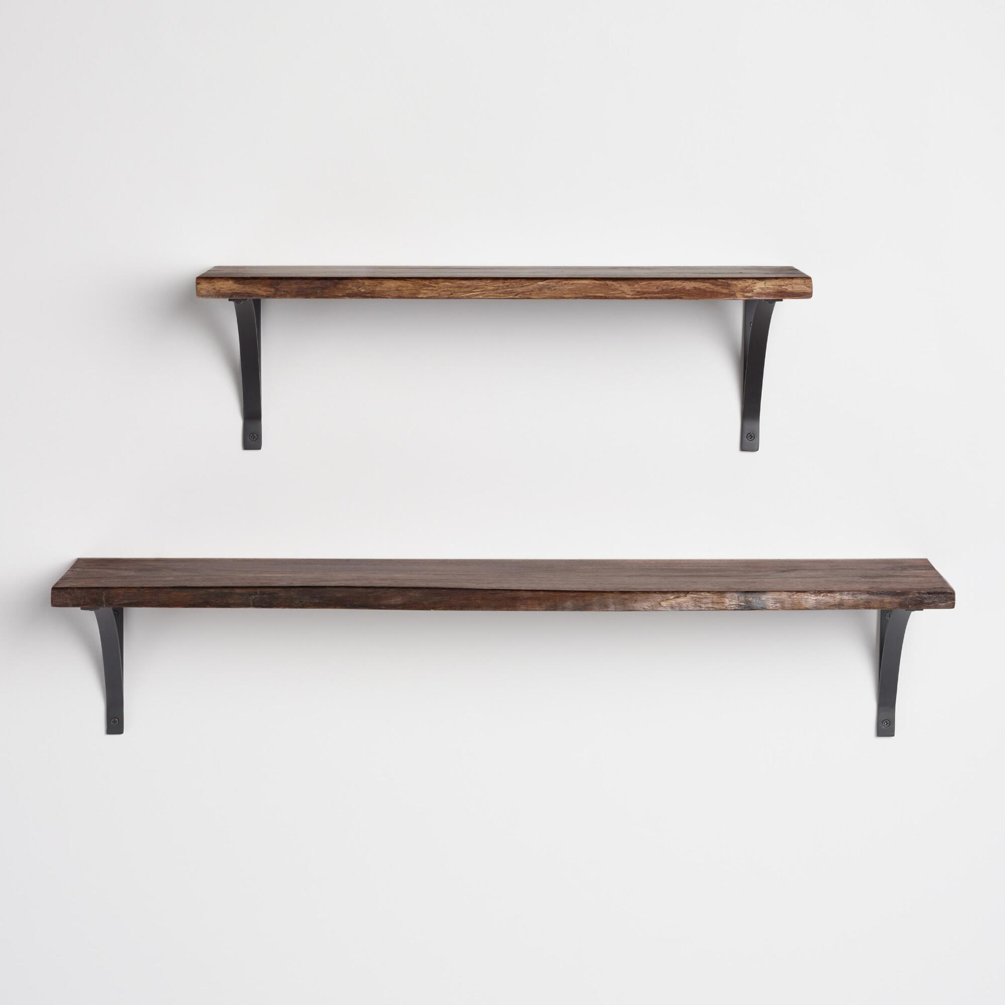 Organic edge wood mix match wall shelf collection world market - Wall metal shelf ...