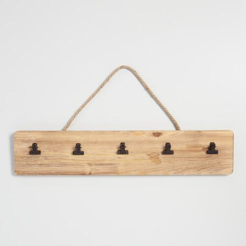 Wood 5 Clip Card Wall Decor
