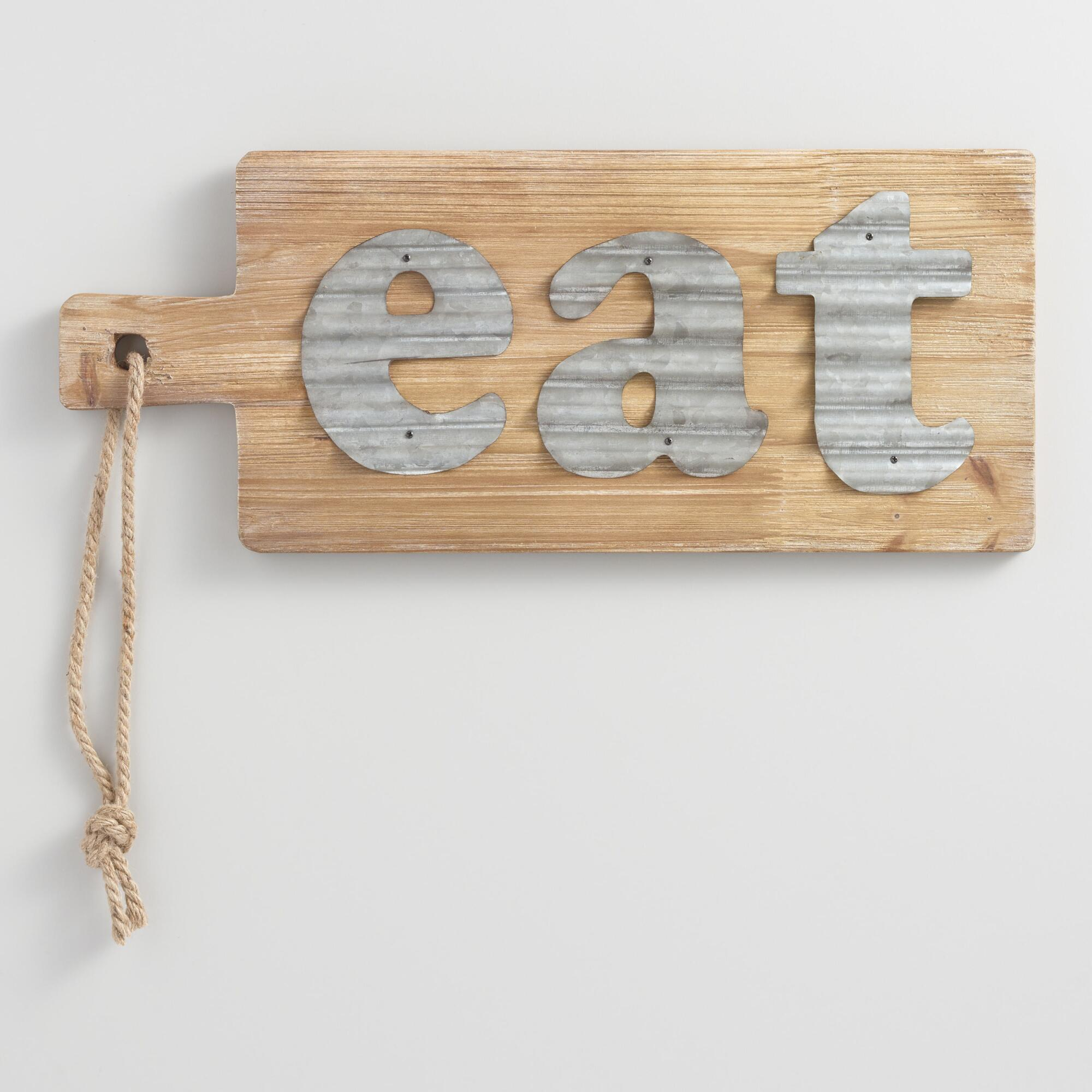 Eat metal and wood cutting board wall decor world market for Wall accessories
