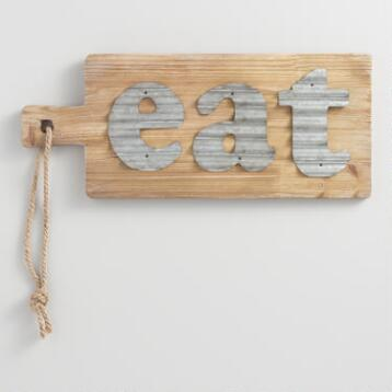 Eat Metal and Wood Cutting Board Wall Decor