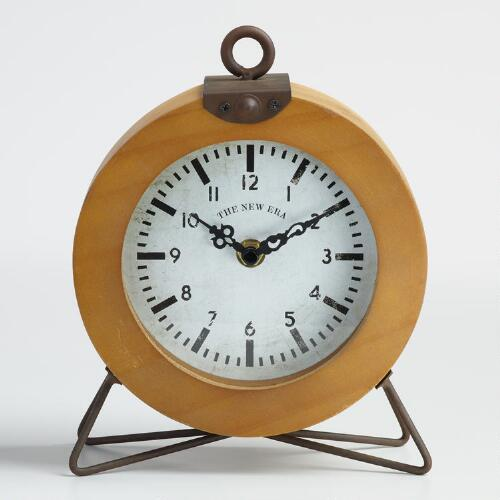 Round Wood and Metal Cody Tabletop Clock