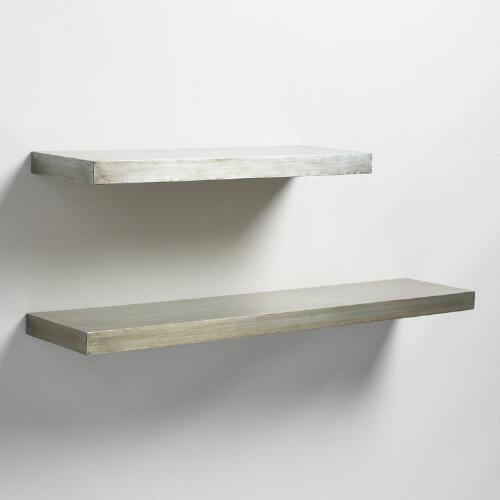 Antique Zinc Floating Ledge Wall Shelf