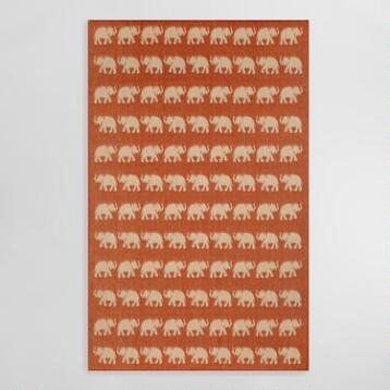 Terracotta Elephants Terrace Indoor Outdoor Area Rug