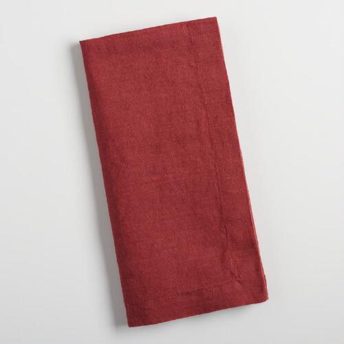 Brick Red Linen Napkins Set of 4