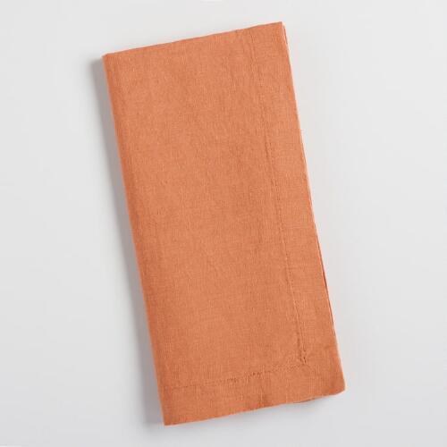 Autumn Orange Linen Napkins Set of 4