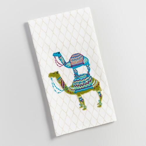 Embroidered Camels Kitchen Towel