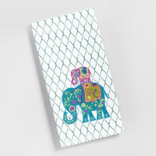 Embroidered Elephants Kitchen Towel