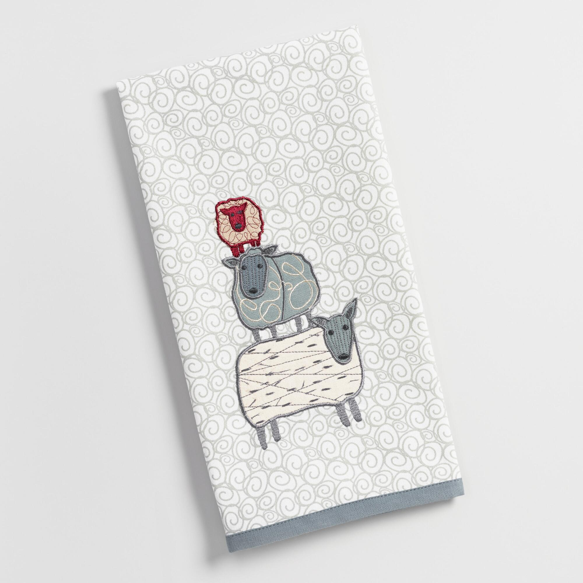 Embroidered Towels Online: Embroidered Sheep Kitchen Towel