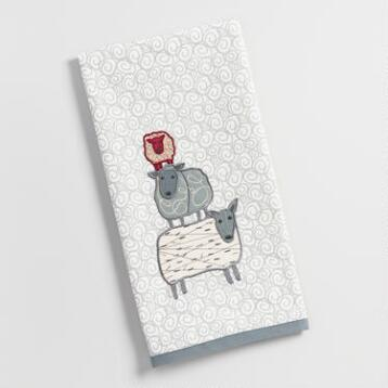 Embroidered Sheep Kitchen Towel