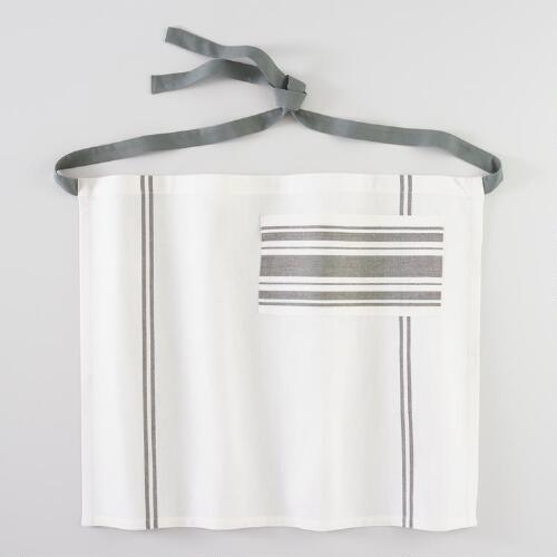 Gray French Stripe Half Apron