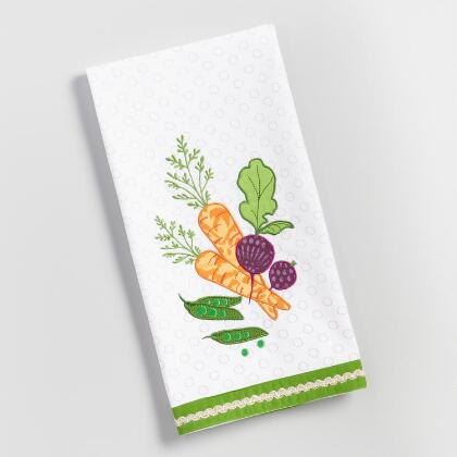 Embroidered Carrot and Beet Kitchen Towel