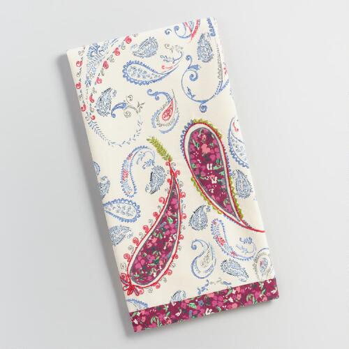 Blue and Pink Paisley Embroidered Kitchen Towel