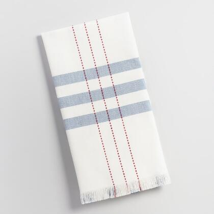 Blue Stripe with Red Running Stitch Kitchen Towel