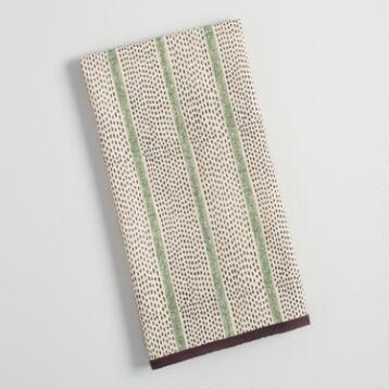 Green Dot Stripe Kitchen Towel